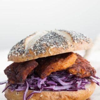 "Vegan ""Chicken"" Garlic Slaw Burger"