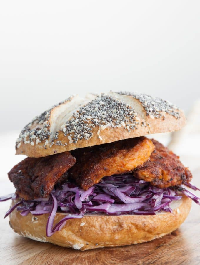 "Vegan ""Chicken"" Garlic Slaw Burger"