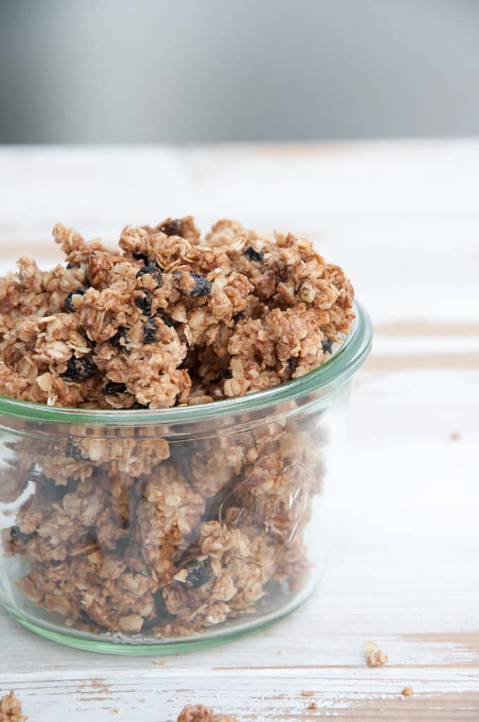 Vegan Marzipan Granola with Dried Blueberries | ElephantasticVegan.com