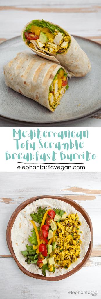 Mediterranean Tofu Scramble Breakfast Burrito | ElephantasticVegan.com