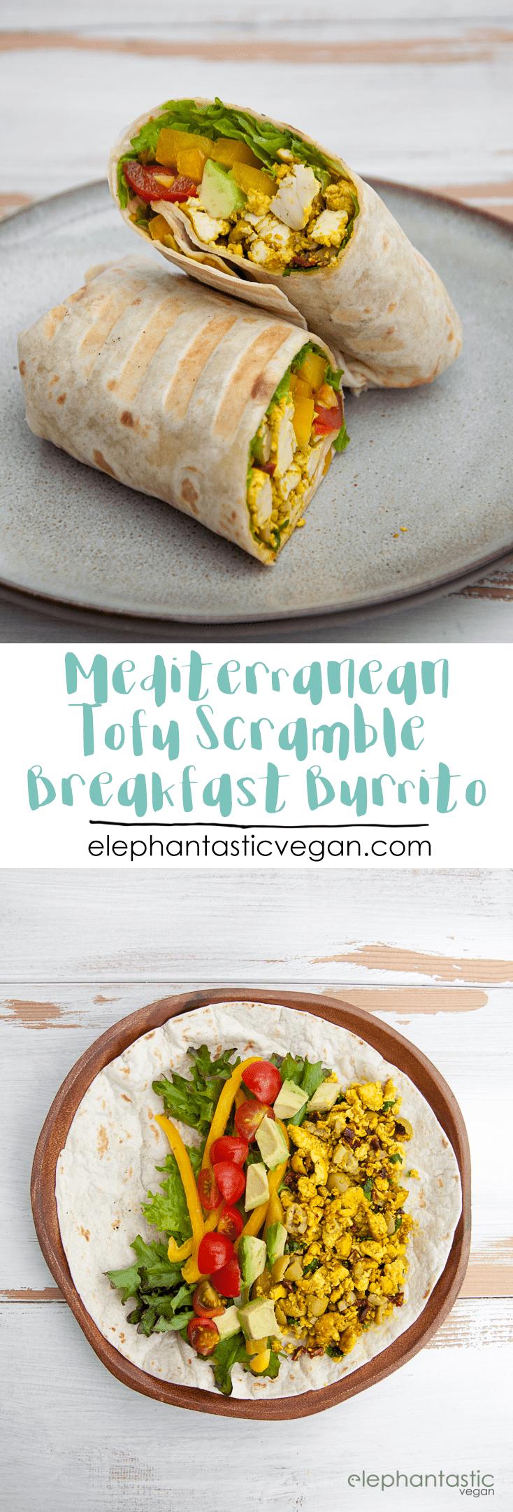 mediterranean tofu scramble breakfast burrito recipe elephantastic