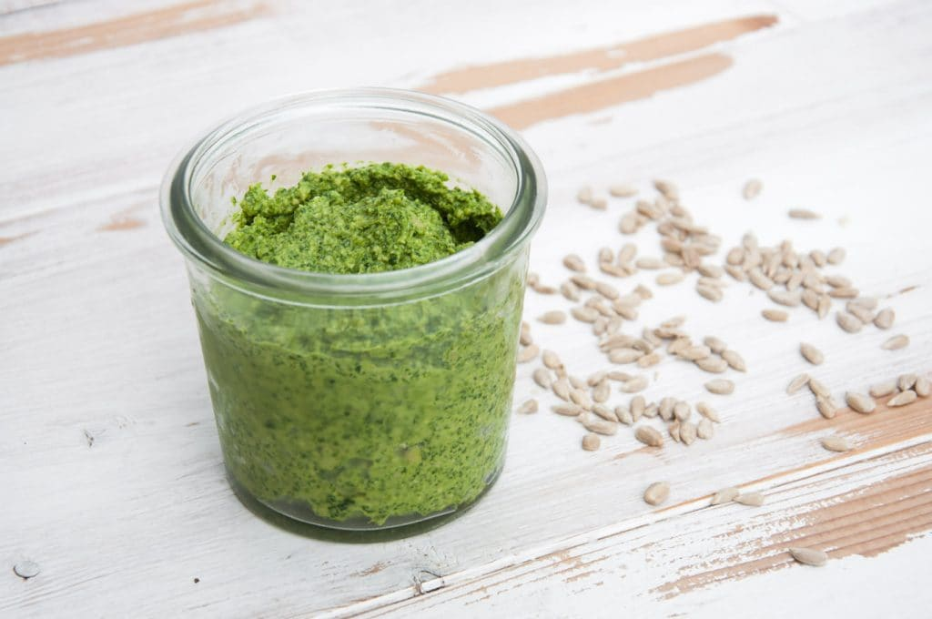 Arugula Pesto in a glass jar