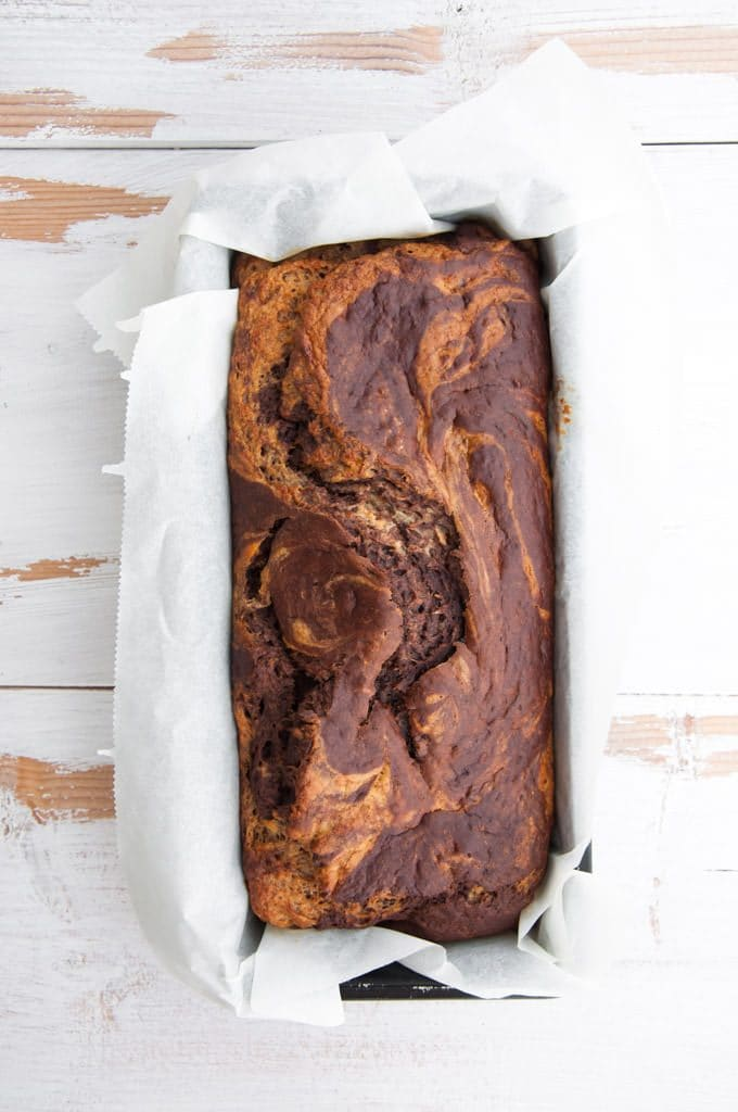 Marbled Banana Bread from top in loaf pan