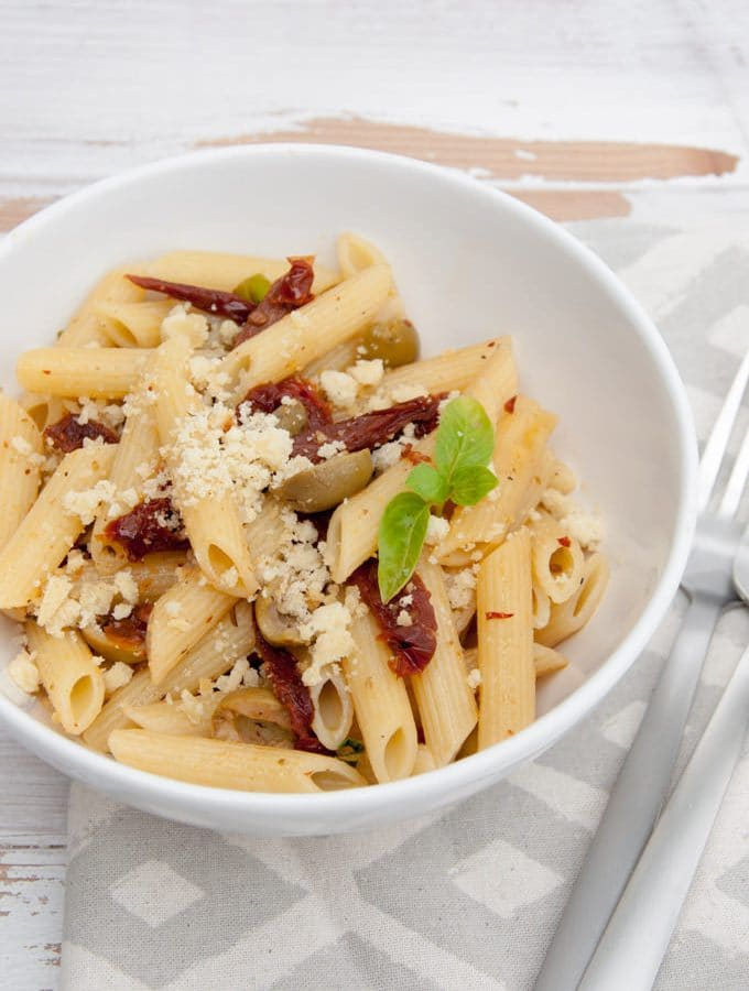 Mediterranean Pasta with Almond Feta (vegan)