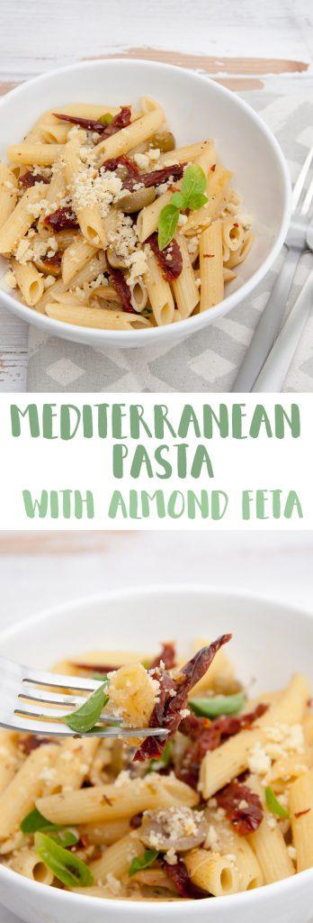 Mediterranean Pasta with Almond Feta (vegan) |ElephantasticVegan.com