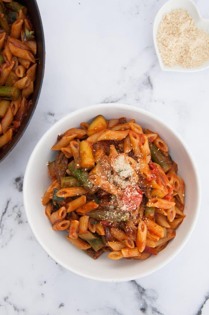 Quick Date Night Pasta with Asparagus and Cashew Parmesan from top
