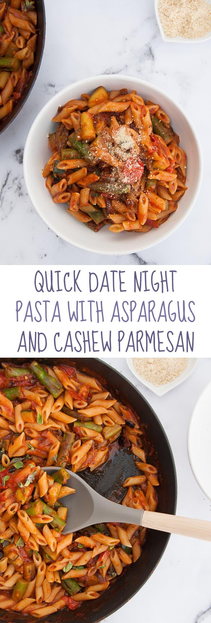 Quick Date Night Pasta with Asparagus and Cashew Parmesan | ElephantasticVegan.com