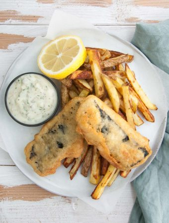 Tofish and Chips served with Tartar Sauce