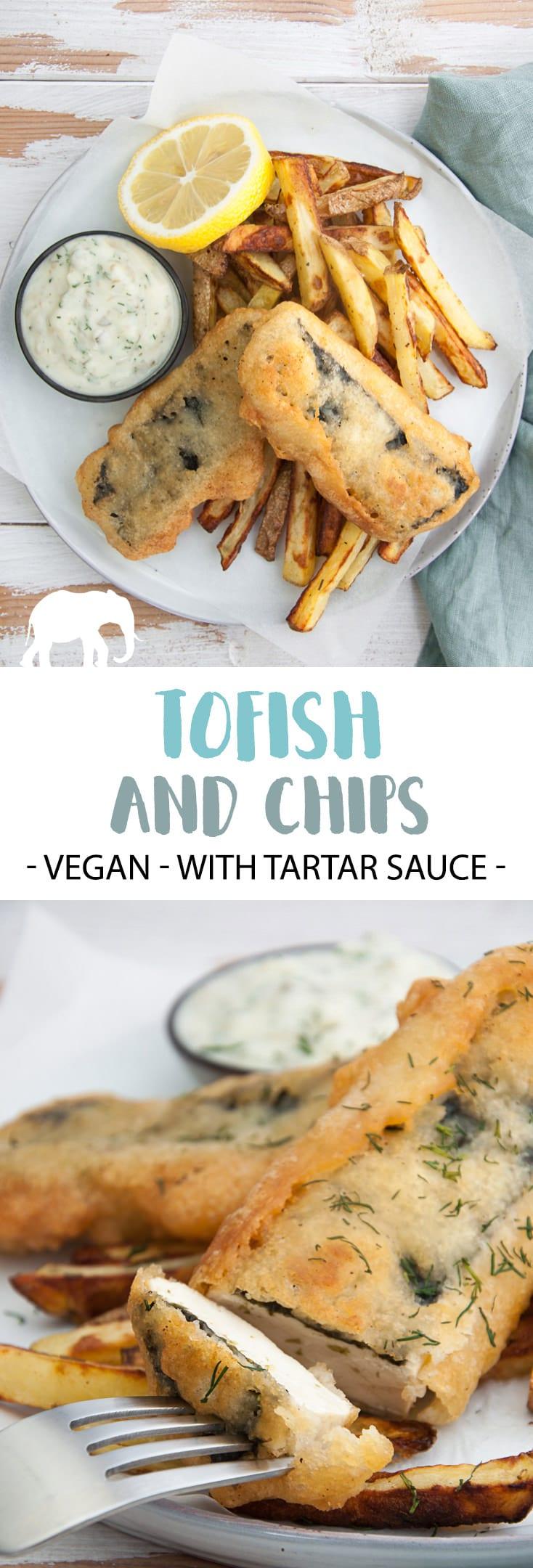 Vegan Tofish and Chips served with homemade Tartar Sauce #vegan #fish #tofish #tofu #plantbased