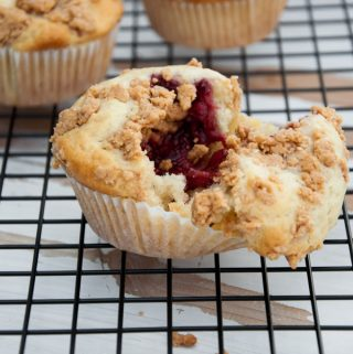 Vegan PBJ Muffins with Peanut Butter Streusel inside