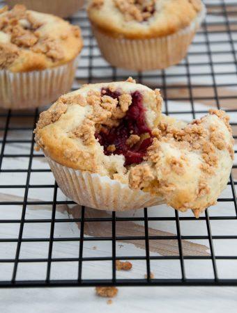 Vegan PBJ Muffins with Peanut Butter Streusel inside