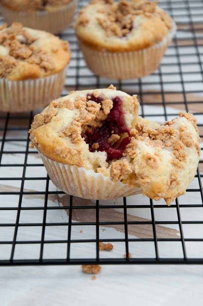 Vegan PBJ Muffins with Peanut Butter Streusel