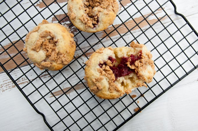 Vegan PBJ Muffins with Peanut Butter Streusel from the top