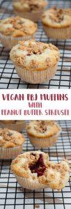 Vegan PBJ Muffins with Peanut Butter Streusel   ElephantasticVegan.com