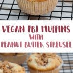 Vegan PBJ Muffins with Peanut Butter Streusel | ElephantasticVegan.com