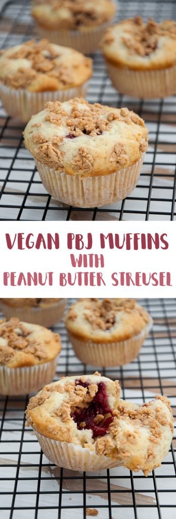 Vegan PBJ Muffins with Peanut Butter Streusel | ElephantasticVegan.com