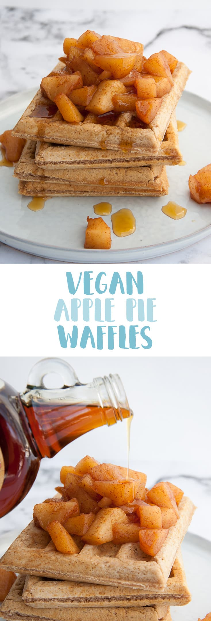 Vegan Apple Pie Waffles | ElephantasticVegan.com #vegan #waffles #applepie #apple #breakfast