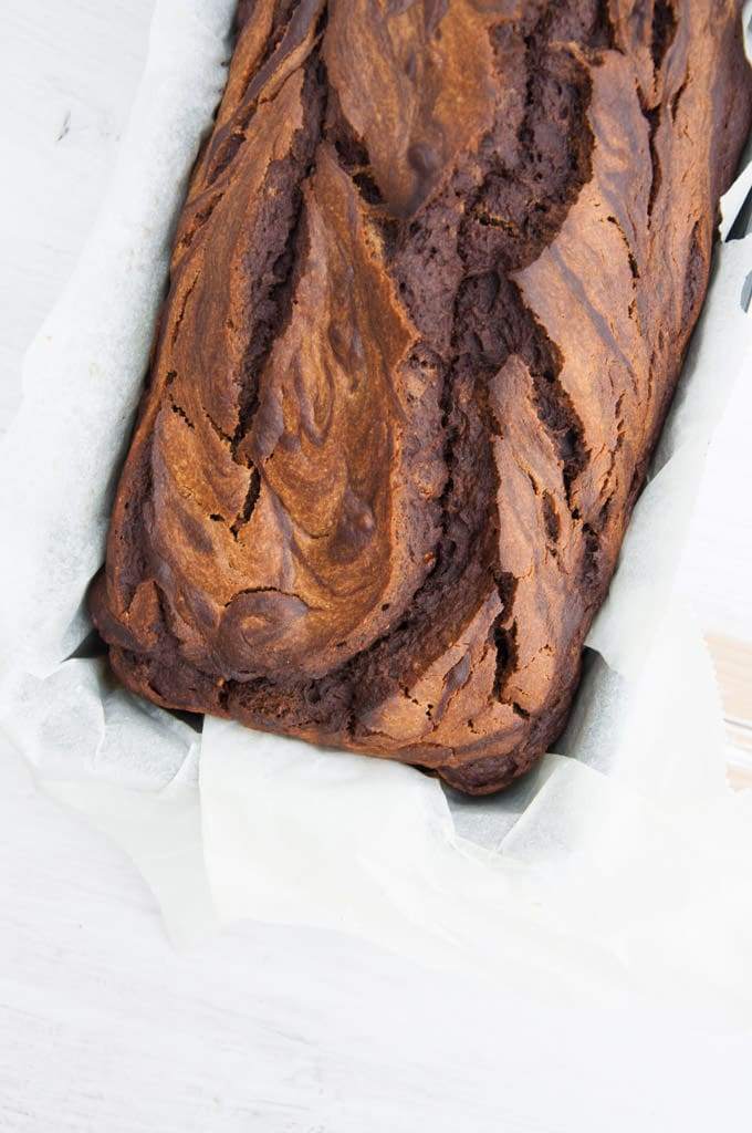 Vegan Chocolate Peanut Butter Banana Bread from the top