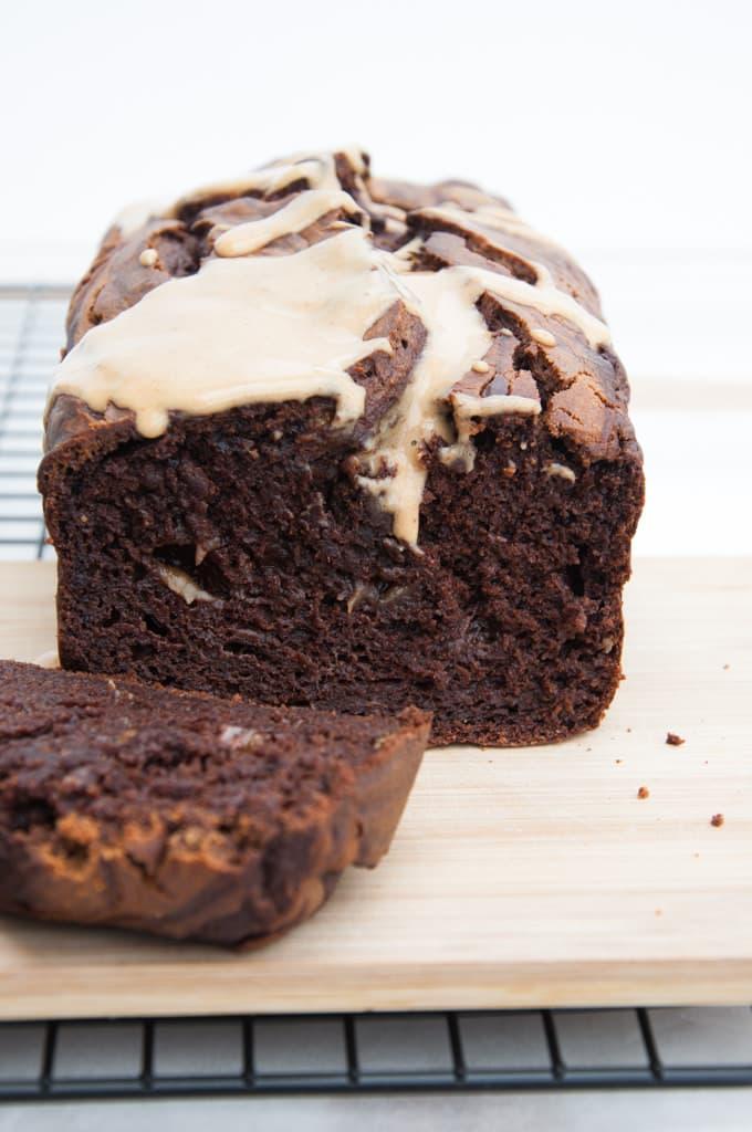 Vegan Chocolate Peanut Butter Banana Bread inside