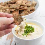 Vegan Za'atar Crackers dipped in hummus