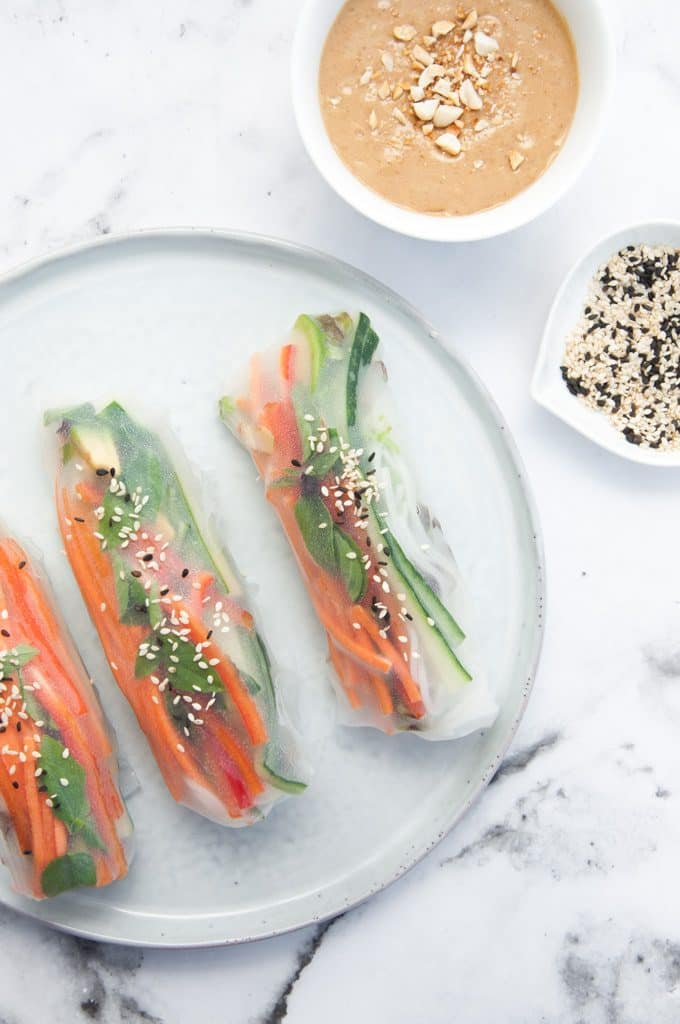 Veggie Summer Rolls with Peanut Wasabi Sauce from top