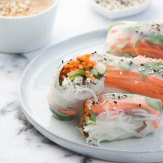 Veggie Summer Rolls with Peanut Wasabi Sauce side