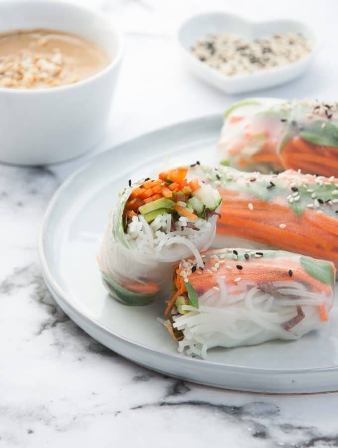Veggie Summer Rolls with Peanut Wasabi Sauce side