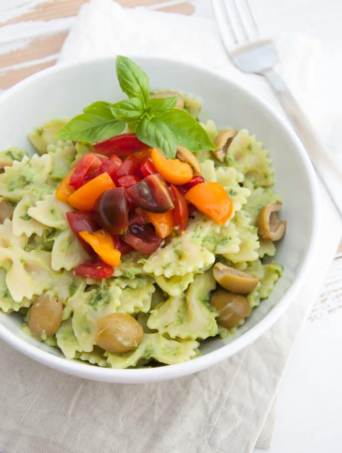 Creamy Avocado Basil Pasta with tomatoes and olives