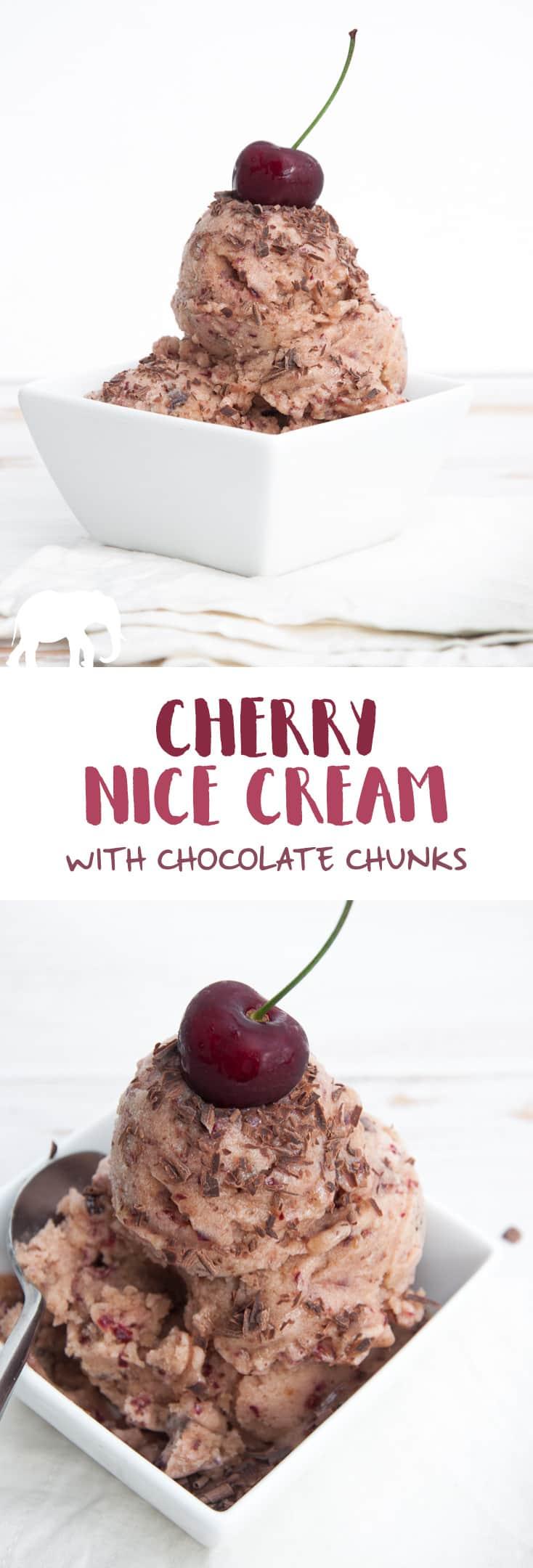 Cherry Nice Cream with Chocolate Chunks   Elephantastic Vegan