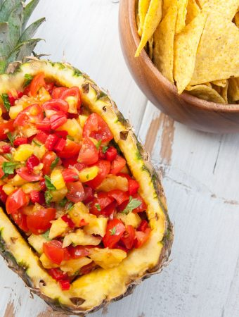 Easy Pineapple Salsa in a whole pineapple
