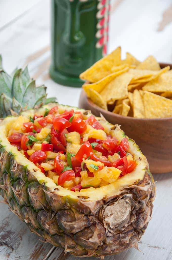 Vegan Easy Pineapple Salsa with red bell pepper, tomatoes, pineapple and cilantro