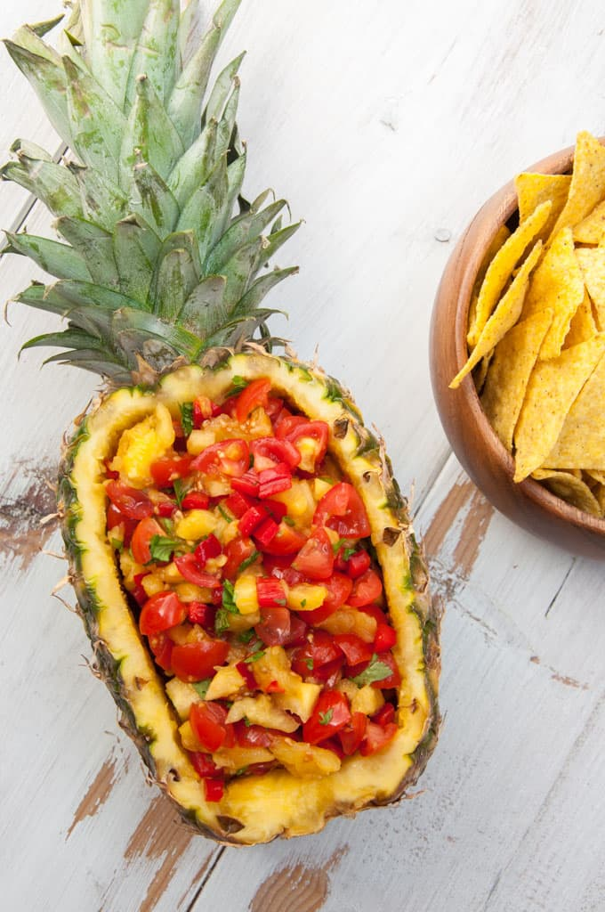 Vegan and Easy Pineapple Salsa in a whole pineapple
