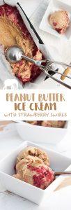 Peanut Butter Ice Cream with Strawberry Swirls (Vegan) |ElephantasticVegan.com