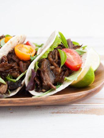 Vegan Pulled Portobello Tacos closeup