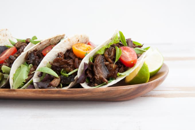 Vegan Pulled Portobello Tacos from the side