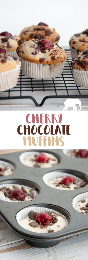 Vegan Cherry Chocolate Muffins | ElephantasticVegan.com