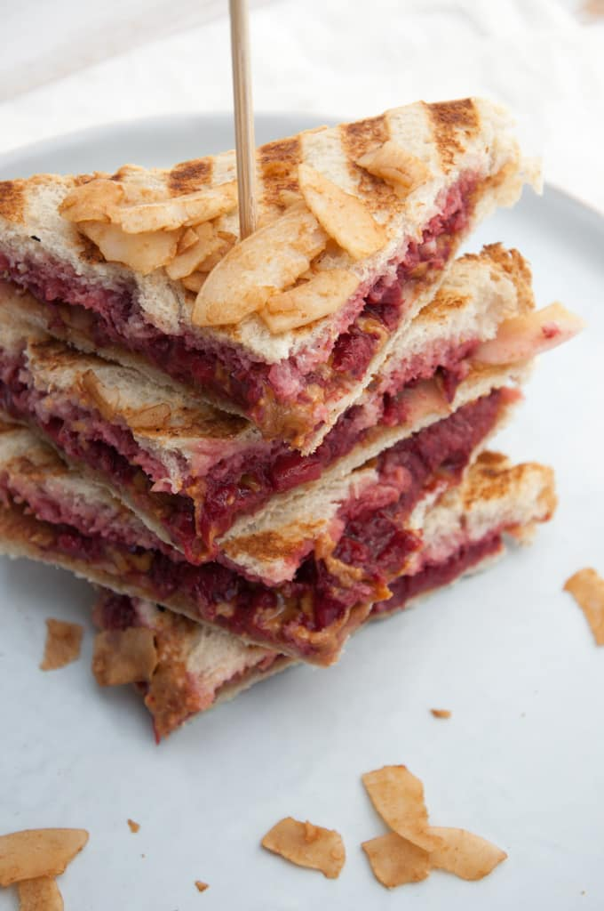 Vegan Peanut Butter and Jam Coconut Bacon Sandwich