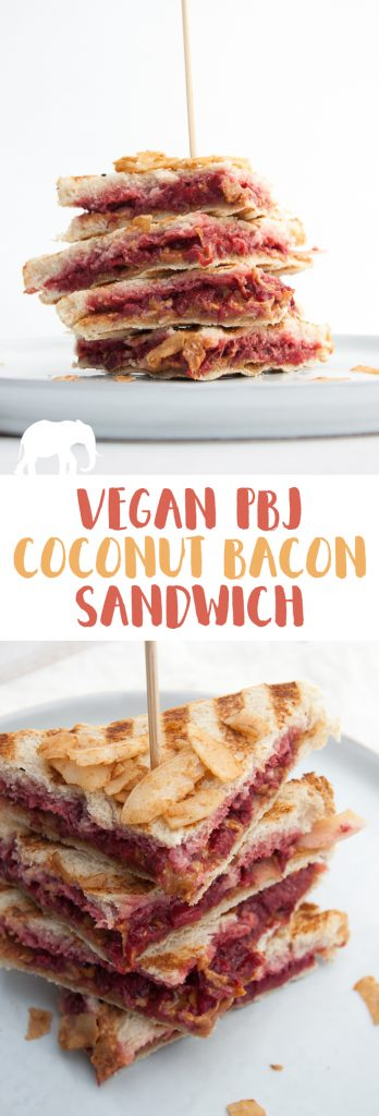 Vegan PBJ Coconut Bacon Sandwich | ElephantasticVegan.com