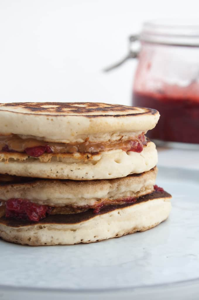 Vegan PBJ Pancake Sandwiches side