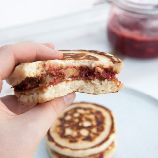 Vegan PBJ Pancake Sandwiches inside