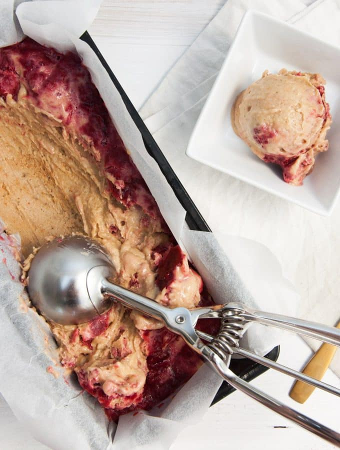 Vegan Peanut Butter Ice Cream with Strawberry Swirls