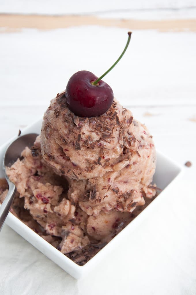 Cherry Nice Cream with Chocolate Chunks | ElephantasticVegan.com