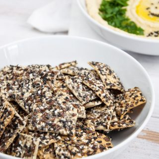 Vegan Everything Crackers with Poppyseeds, black and white sesame, flax seeds, cumin and pretzel salt