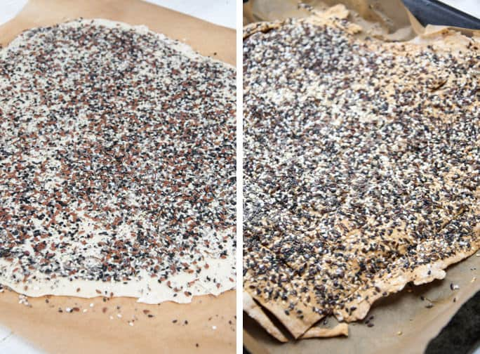Everything Crackers before and after baking