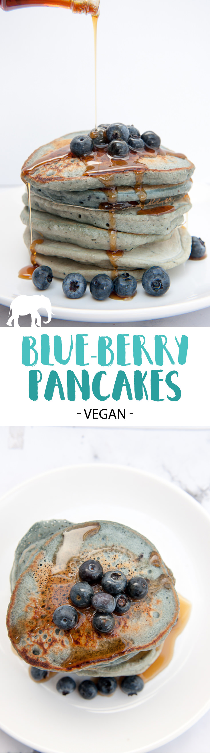 Vegan Blue-Berry Pancakes - These naturally colored pancakes are perfect for kids!   ElephantasticVegan.com #vegan #blueberry #pancakes #breakfast #kidfriendly