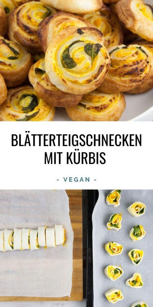 Vegane Blätterteigschnecken mit Kürbis und Basilikum