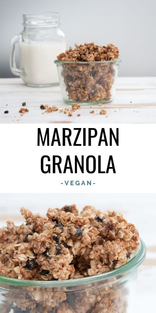 Vegan Marzipan Granola with dried blueberries