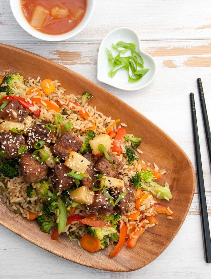 Vegan Sweet and Sour Mock Chicken on Fried Rice