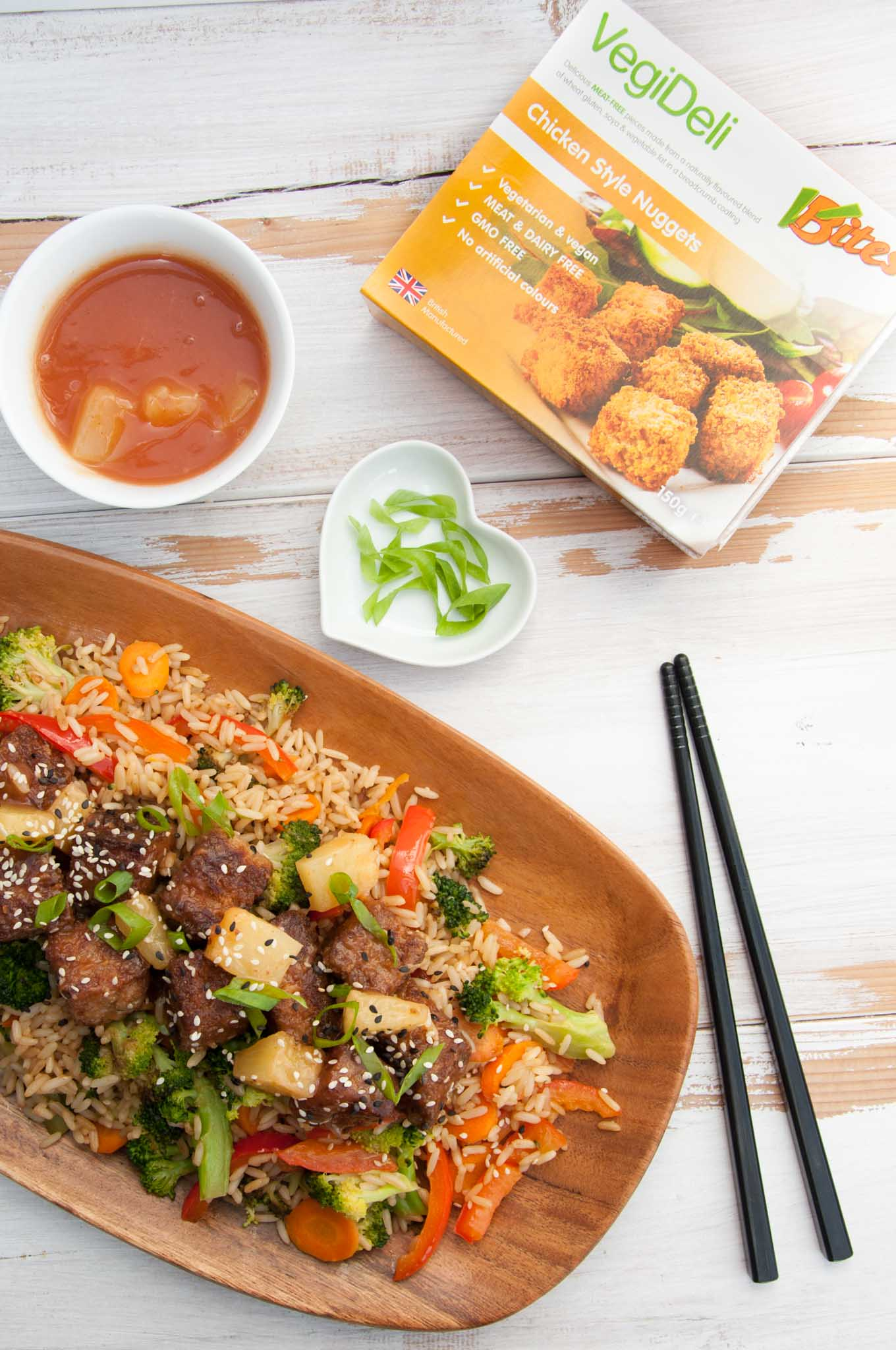 Vegan Sweet And Sour Mock Chicken on Fried Rice |ElephantasticVegan.com
