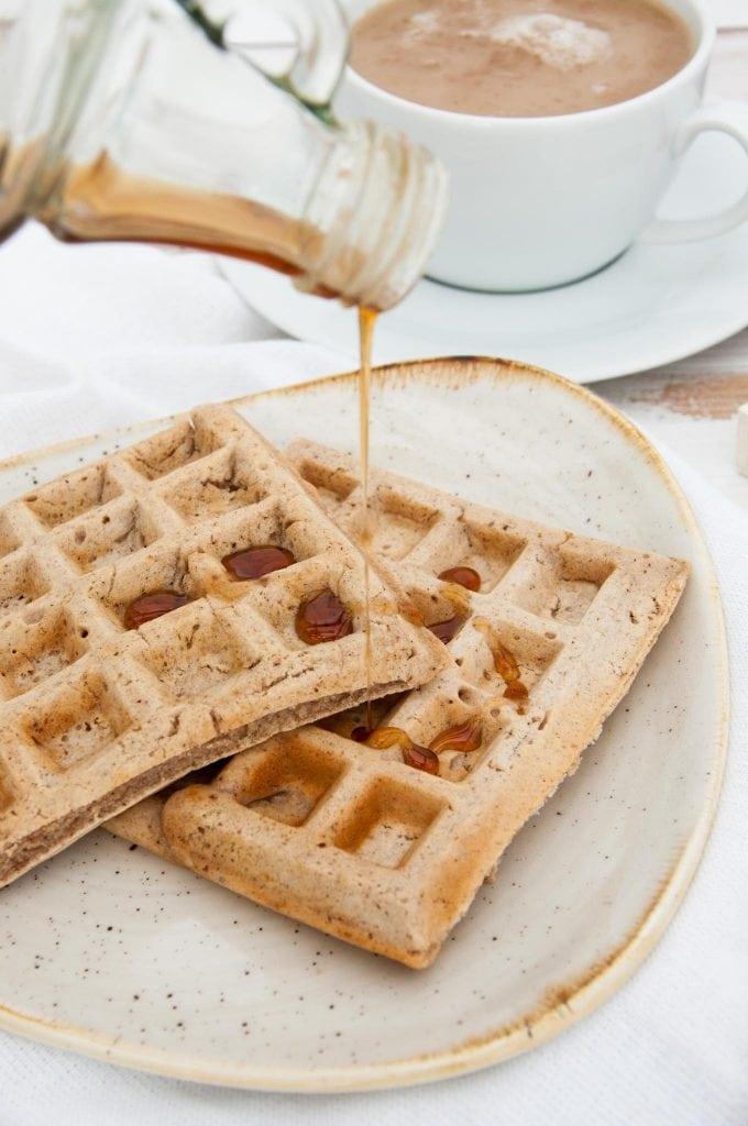 Vegan Chai Waffles with maple syrup |ElephantasticVegan.com